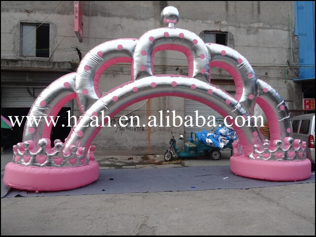 Hot Sale Inflatable Arch Crown for Promotional commercial sea inflatable blue water slide with pool and arch for kids