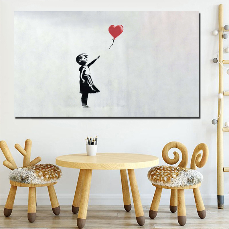 Banksy Wallpapers Girl With Balloon Wall Art Canvas Painting Nordic Posters And Prints Pictures Kids Room Decor