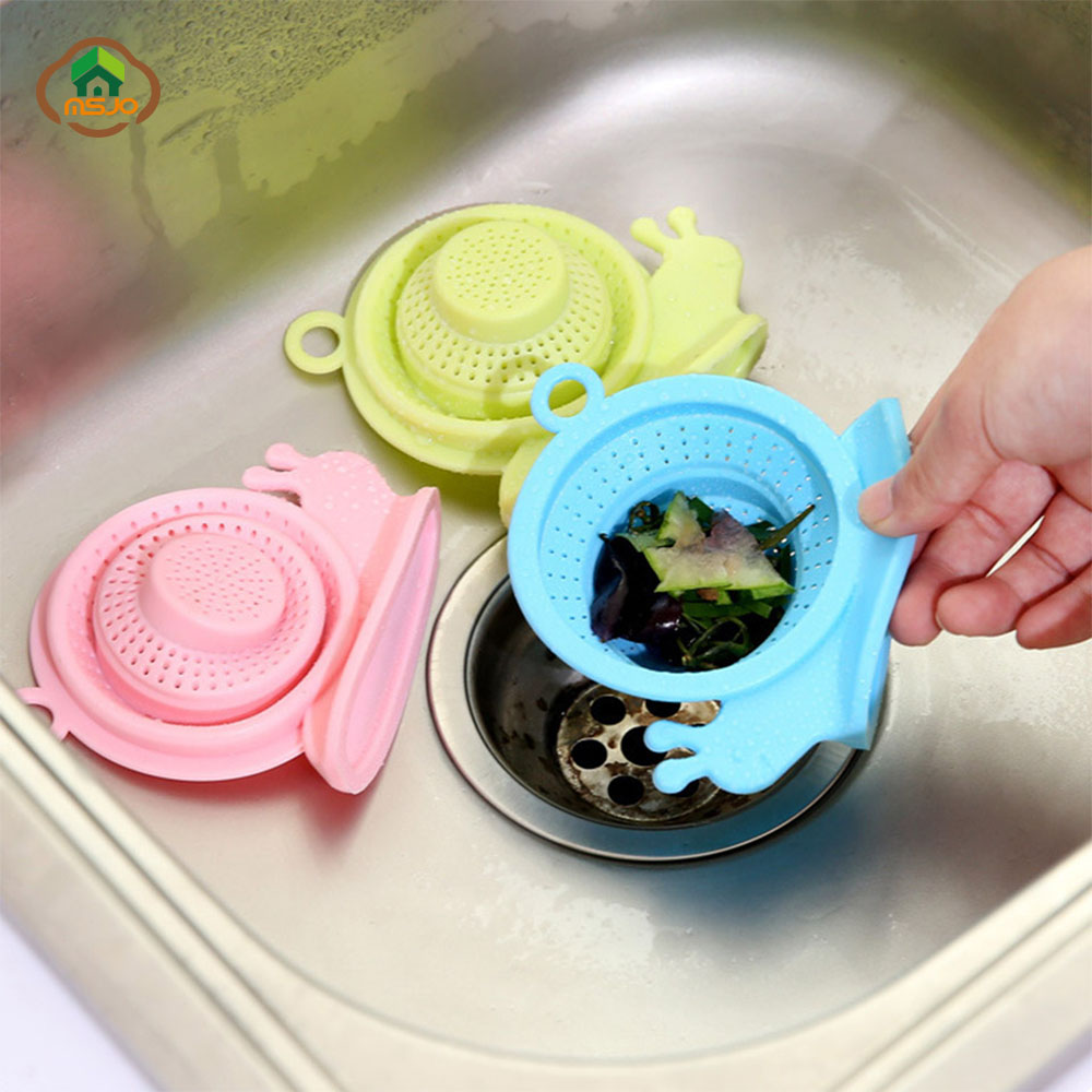 MSJO Sink Drain Protector Hair Catcher Kitchen Accessories Silicon Snail Cleaning Waste Plug Drainer Vegetable Strainer For Sink