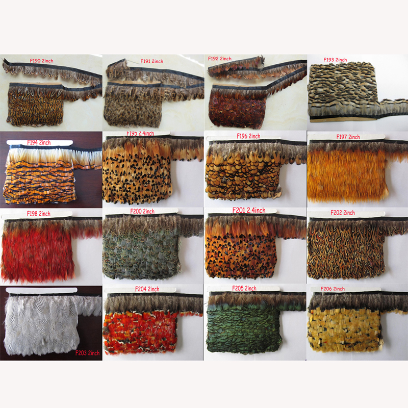 wholesale 10m/bag natural beautiful pheasant feathers ribbon choose different style