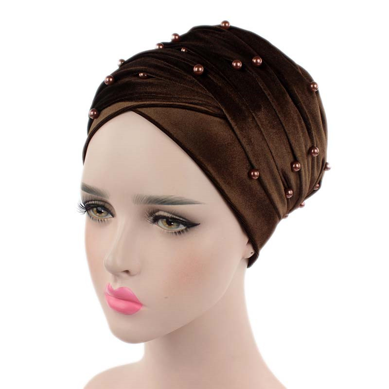 New luxury beaded pearled velvet turban long head scarf headwrap women muslim hijab Bandanas Hair Accessories 17