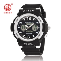 Fashion OHSEN Brand Digital Kid Girl Wristwatch Black Rubber Strap Alarm Date LCD 30M Swim Children