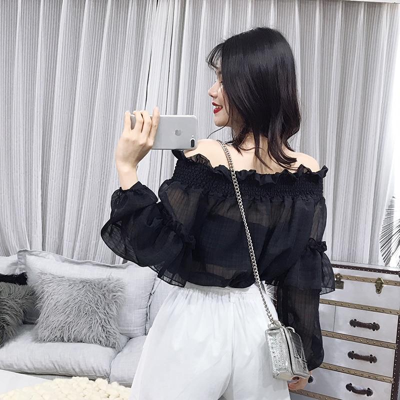 Fashion Off Spring Shirt New Brown Chiffon Neck Women's Blouse white black 2019 Thin the shoulder Slash Dark Hz5Xwf