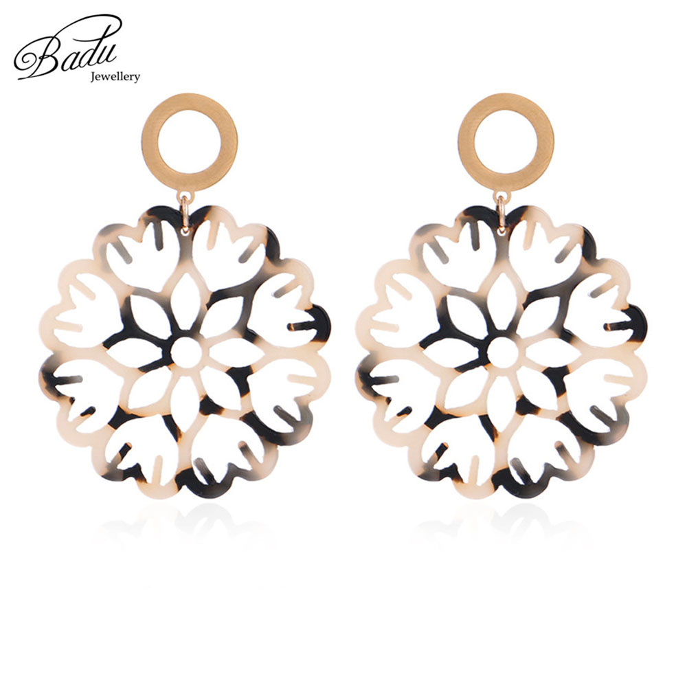 Detail Feedback Questions about Badu Round Acrylic Earring Big Hollowing  Flower Pattern Acetic Acid Dangle Drop Earrings for Women Vintage Party  Jewelry ... 5b11a2f27cdf