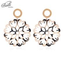 Badu Round Acrylic Earring Big Hollowing Flower Pattern Acetic Acid Dangle Drop Earrings for Women Vintage Party Jewelry Gift round big flower pattern beach throw