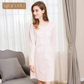 Ladies Solid Color Long Sleeve Nightdress Pink & Blue &grey two clolrs hot selling 91797C