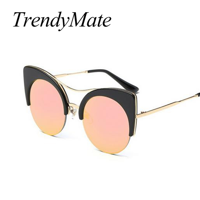 7782c1921d 2018 Fashion Sexy Round Cat Eye Sunglasses Gradient Pink Big Frame Ladies  Sun Glasses for Women Large Size Luxury Oculos 717M-in Sunglasses from ...