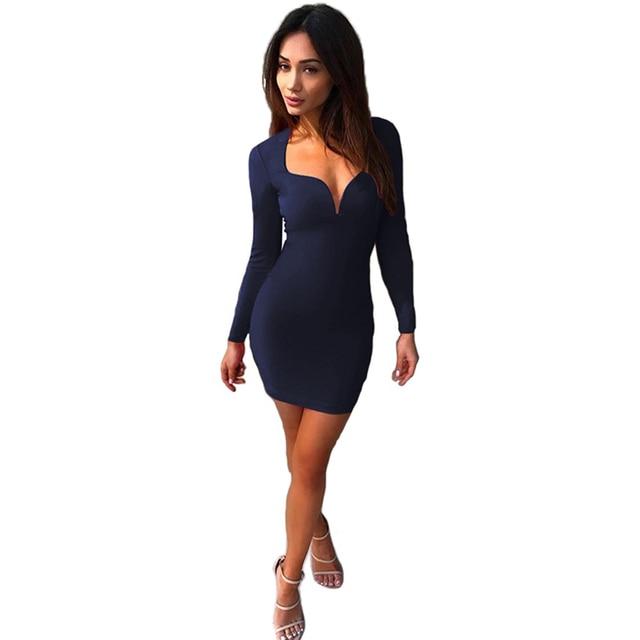 2751af61735c Women autumn new bandage Bodycon Party Short Mini Dress long sleeve low cut  v-neck solid slim pencil mini dress
