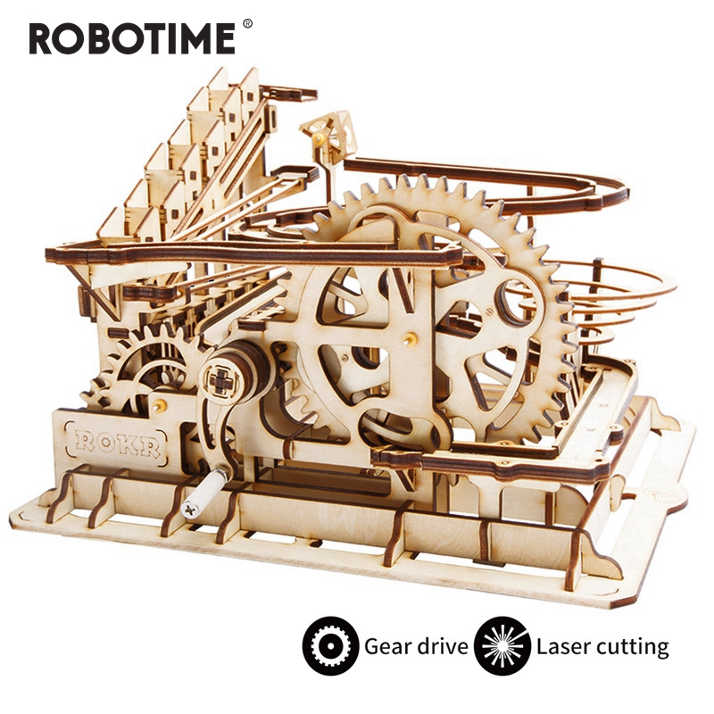 Robotime 4 Kinds DIY Marble Run Game Laser Cutting 3D  Wooden Puzzle Game Assembly Toy Gift for Children Adult LG501