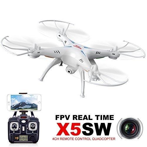 Syma X5SW X5W X5SW-12.4GHz 4CH 6-Axis Gyro WiFi Temps Réel Vidéo RC Quadcopter UFO FPV avec Émetteur 0.3MP HD Caméra