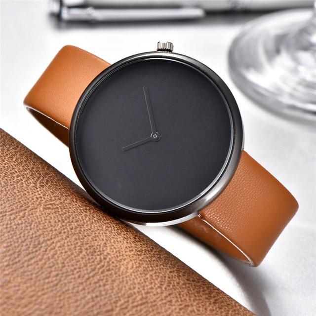 Minimalist Style Men Women Watch Fashion Casual Leather Quartz Wristwatch Analog