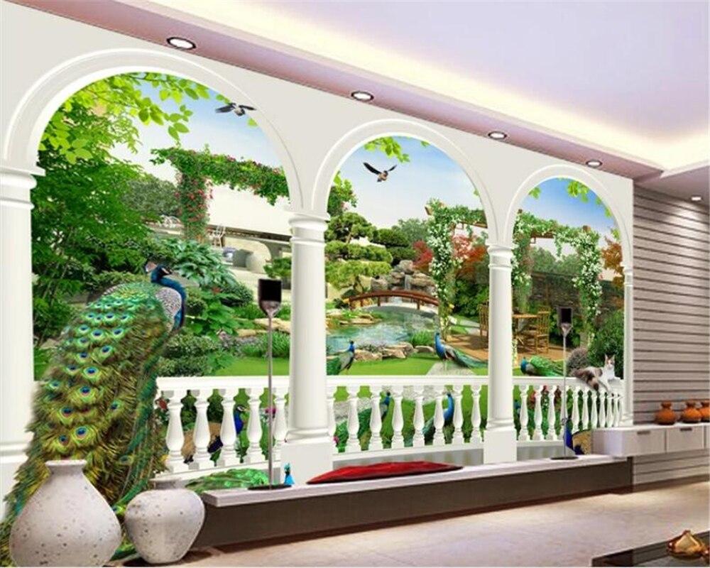 US $8 85 OFF Beibehang Besar Wallpaper Kustom Fantasy 3 D Burung Merak Taman Istana Gambar Di Dinding Wallpaper Dinding 3d Dinding Kertas Custom