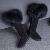 GQPy Luxury Winter Knee High Boots Natural Black Fox Fur Long Snow Boots Genuine Leather Waterproof