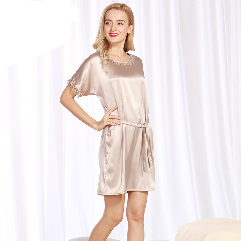 SSH085 2017 New Sweet Young Women Satin Silk   Nightgown   Solid Above Knee Female Sleepwear Summer Ladies Lace Sexy   Sleepshirts