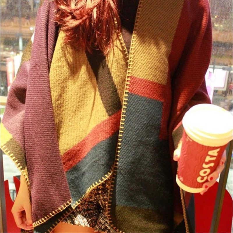 2019 Элитный бренд для женщин Ponch кашемир шерсть плед новый шарф Monogramed пончо накидка плед зима Клетчатый плед bufanda Манта
