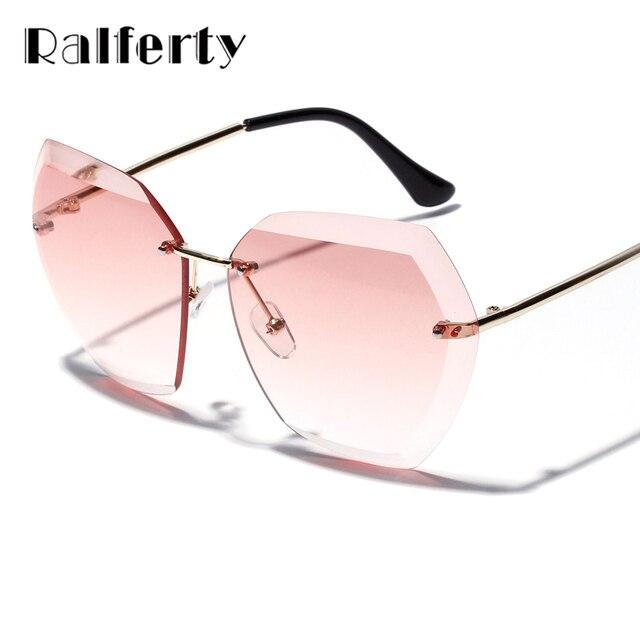 39086539d7791 Ralferty Senhoras Hexágono Óculos De Sol Das Mulheres Transparente Rosa Azul  Óculos de Sol Oversized Limpar