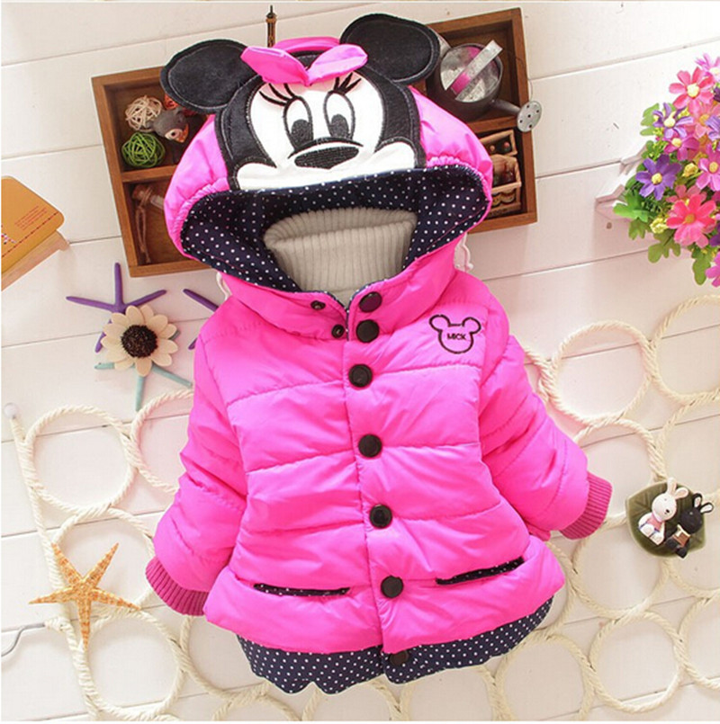 Girls Jackets 2018 Fashion Minnie Cartoon Children Clothing Coat Baby Girl Winter Warm Hooded Outerwear For 1-5 Years Jackets