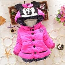 Куртки для девочек; коллекция года; модная детская одежда с рисунком Минни Маус; пальто для маленьких девочек; зимняя теплая верхняя одежда с капюшоном для От 1 до 5 лет; куртки