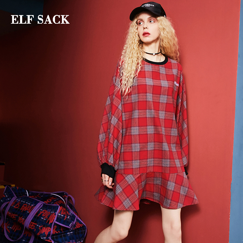 ELF SACK Cotton Casual Plaid Dress 18300032
