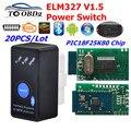 20 шт./лот MINI ELM327 V1.5 Bluetooth вкл/выкл переключатель с чипом PIC18F25K80 ELM 327 1 5 OBD2/OBDII для Android Torque Автомобильный сканер