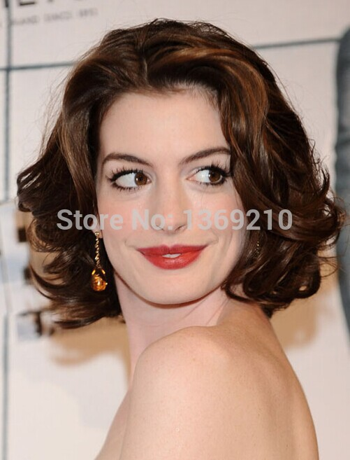 Fashion Lady Wig Anne Hathaway Wavy Hairstyle Sexy Products Lace Front Synthetic Hair Fashion Wigs Medium Length About 12 Inches Wig Stand Wig Bunproduct Trolley Aliexpress