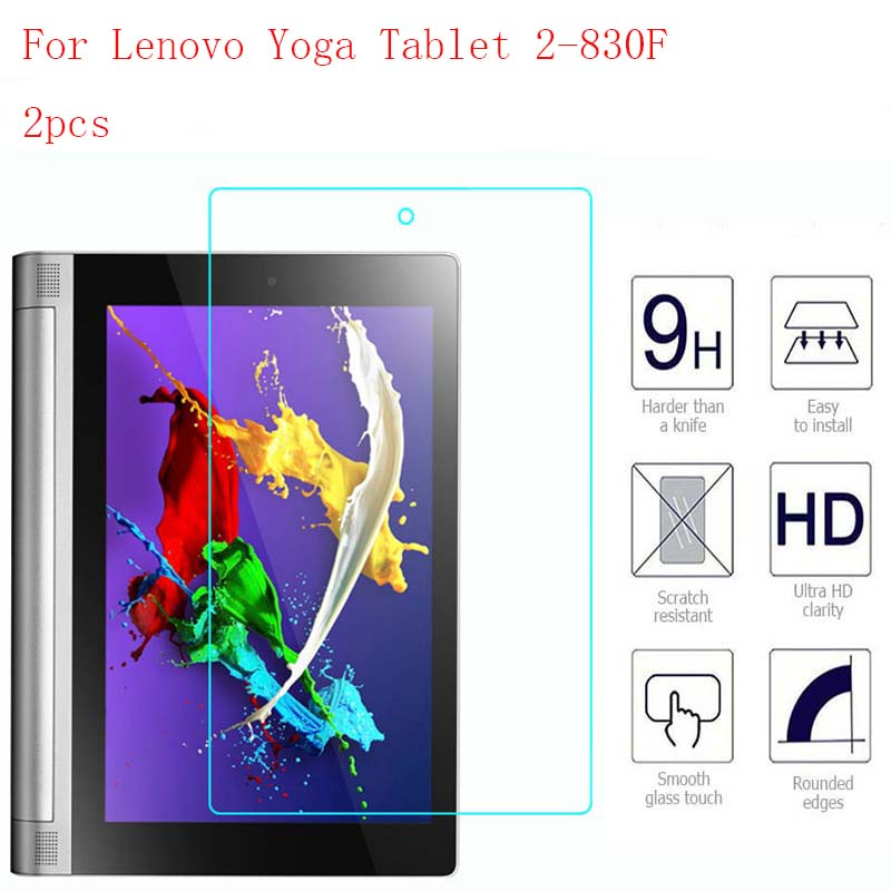 For Lenovo Yoga Tablet 2-830F Tablet 9H HD Clear Tempered Glass Screen Protector film Screen Guard  2pcs in 1 package