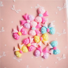 30pcs Cute Dot Bowknot Patch DIY Childrens Headwear Accessories Mobile Phone Shell Material 22X19mm