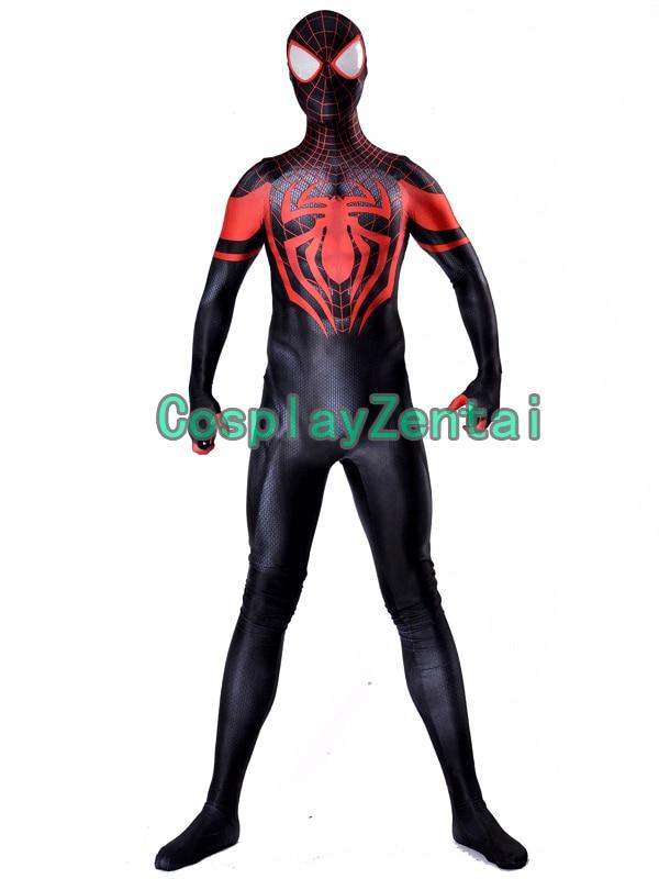 Miles Morales spiderman Costume 3D Print Lycra Fullbody Zentai Suit Spiderman Cosplay Halloween Costume