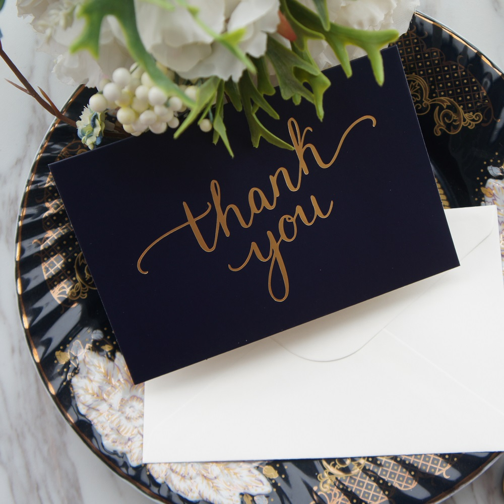 Hot Sale Gold 25pcs Deep Blue Dancing Thank You Card With Envelope