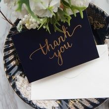 gold 25pcs deep blue dancing thank you Card with envelope greeting card wedding birthday party invitation DIY Decor gift