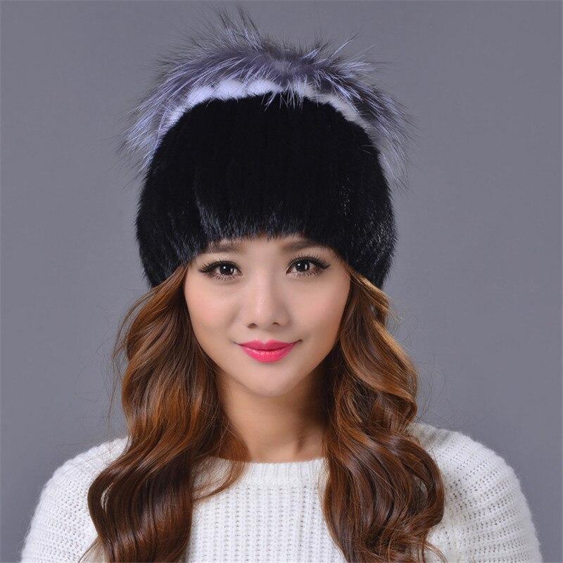 New Women's Mink Fur Knitted Hats Genuine Mink Fur Hat Natural Silver Fox Fur Beanies Winter Warm Fur Hat for Women Caps H#79 mink skullies beanies hats knitted hat women 5pcs lot 2299