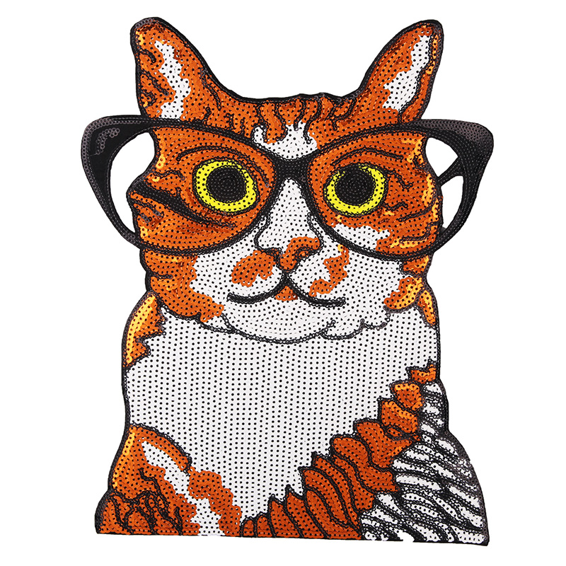 Big Sequins cat beautiful Embroidered Iron on Patches for Clothing DIY Stripes Clothes Stickers Custom Badges 6 pcs/lot