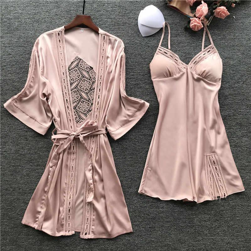 Seksi kadın Elbise Gecelik Setleri Dantel Bornoz + gece elbisesi 2 adet Pijama Bayan Pijama Sahte Ipek Robe Femme Uyku salon Seti