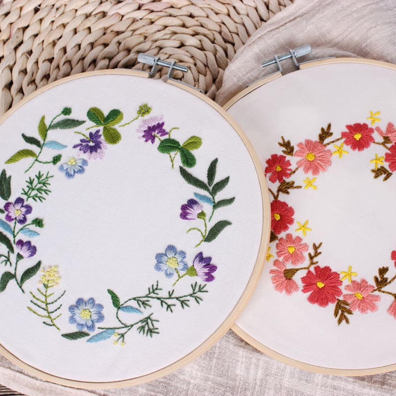 Flower Printed Embroidery Kit for Beginner Needlework Cross Stitch Set Sewing Art Floral Wall Painting Home Decoration Meet Sets(China)