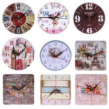 Vintage de madera cuadrado redondo Reloj de pared grande Shabby Chic rústico cocina hogar antiguo decoraciones para el salón
