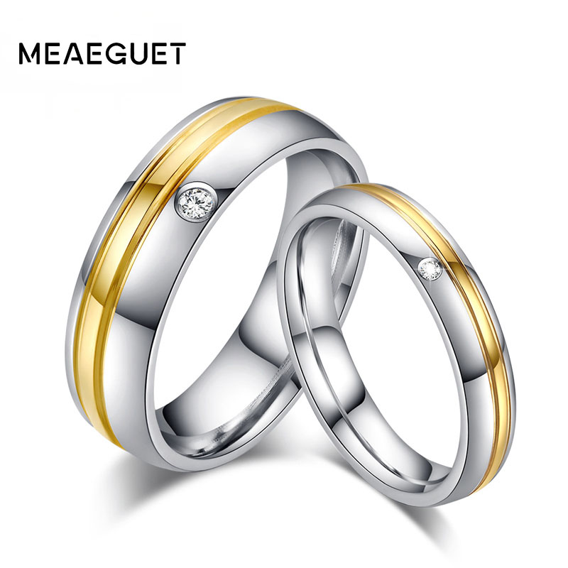 Meaeguet Silver Color Lover's Wedding Ring CZ Stainless Steel Grooves Engagement Promise Fashion Jewelry Joyeria