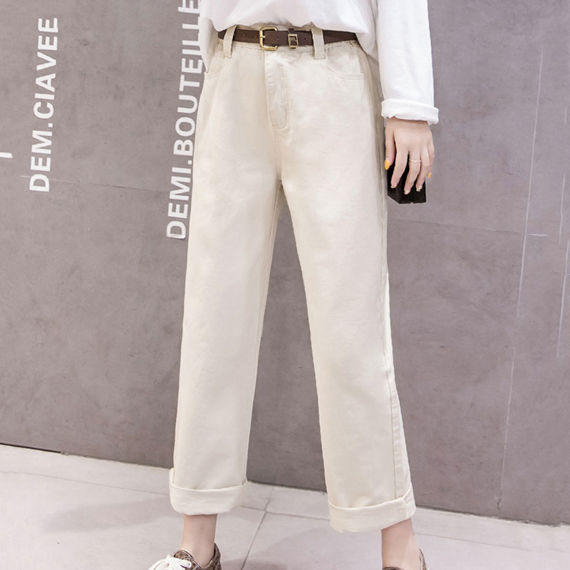 Korean Style Women   Wide     Leg     Pants   Casual Loose High Waist Straight   Pants   Women Solid Pockets Ankle-length Trousers Without Belt