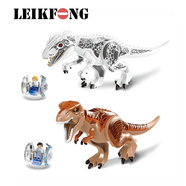2 pçs set xl jurassic dinossauros indominus rex e t rex