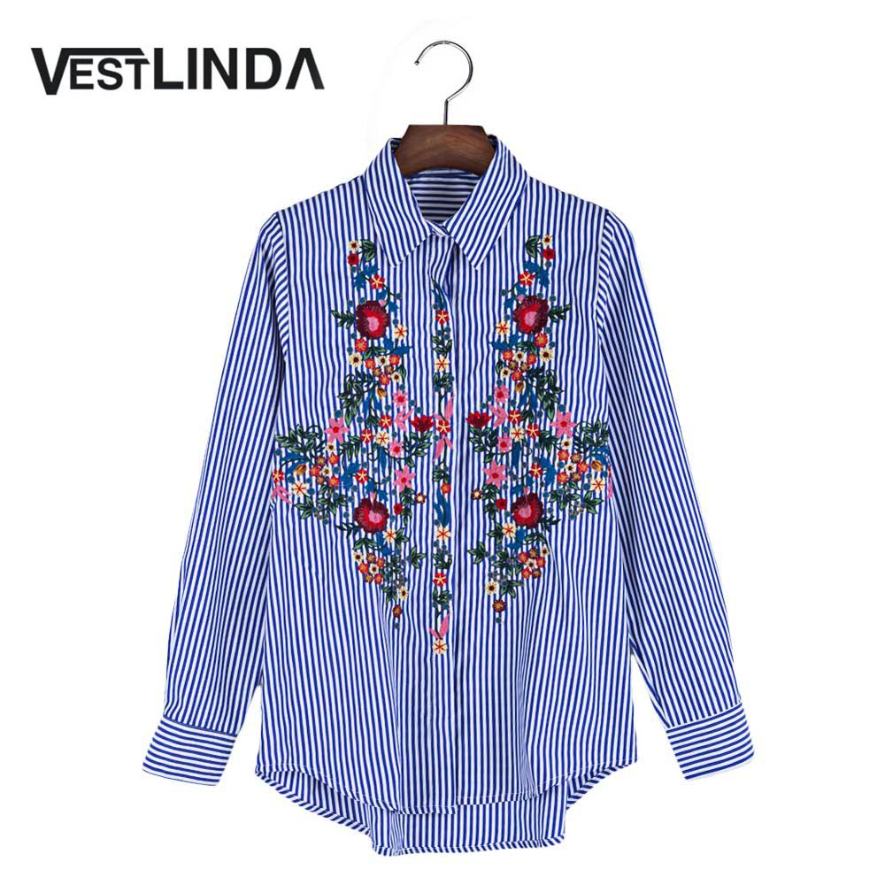 VESTLINDA Women Blouses 2017 Casual Floral Embroidered Shirt Long Sleeve Turn Down Collar Tops Striped Blusas Femme Loose Blouse 8