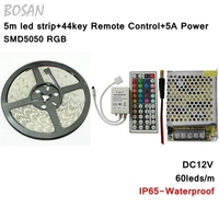 Waterproof rgb Led Strip light 5M 5050 300leds and 44Key IR Controller and 12V 5A Switching Power Supply 60Leds/m