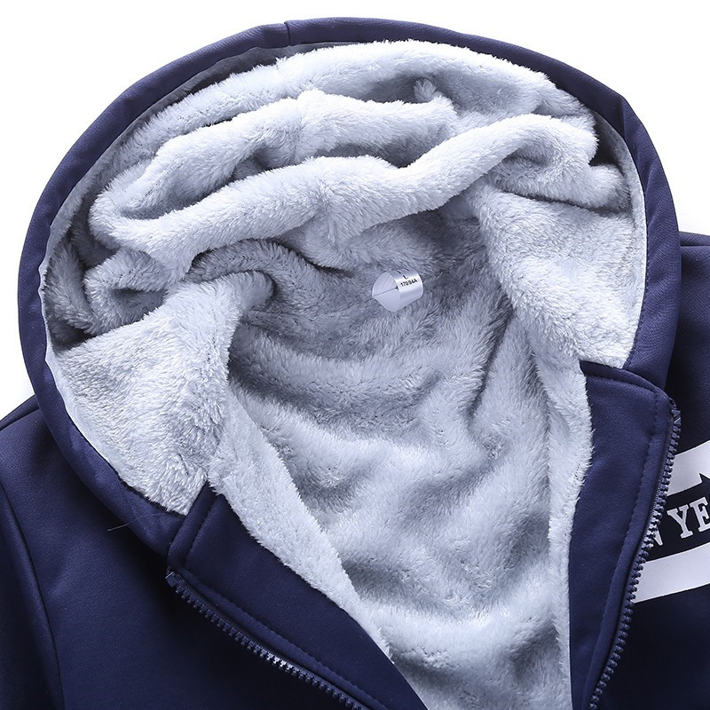 Image 4 - New Sporting Sets Fleece Thick Hooded Brand Clothing Casual Track  Suit Men Jacket Pant Warm Fur Inside Winter SweatshirtMens Sets   -