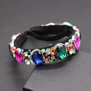 Image 5 - Luxury heavy color rhinestone crystal wild headband  Baroque Heavy Industry Luxury Geometric Color Rhinestone Headband 874