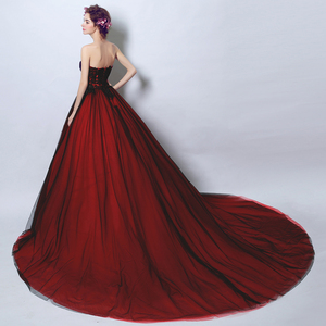 Image 4 - Walk Beside You Real Black and Burgundy Evening Dresses Strapless Lace Ball Gown Floor Length Lace UP Back Long Prom Gown