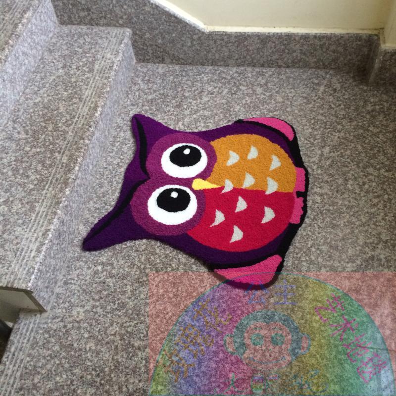 65 cm * 65 cm tapis hibou violet tapis fait main tapis de salle de bain Design hibou tapis de bande dessinée pour enfants tapis de sol antidérapant petit - 3