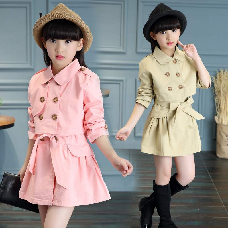 цены 2018 new girls in the spring of the Korean style children's fashion Lapel solid color baby girl clothing set Coat + dress 2pcs