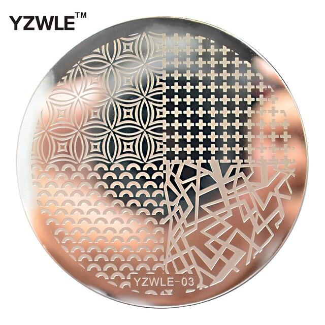 YZWLE 1 Hoja Nail Art Stamping Placa de la Imagen 5.6 cm de Acero Inoxidable Plantilla Stencil Herramientas Esmalte de Uñas (YZWLE-03)