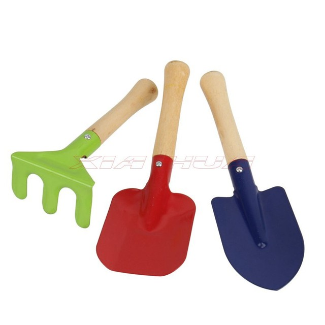 1 Set Colour Garden Tools Three Pieces Of Mini Wooden Handle Outdoor Children\u0027s Toys Beach Tool Childrens
