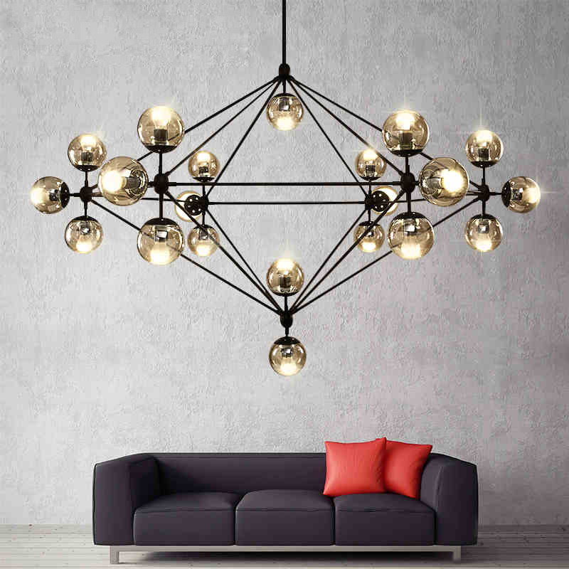 Loft Minimalist Chandeliers The Beanstalk LED Retro Lamps Art Decoration Lights E27 Industrial Glass Chandelier For