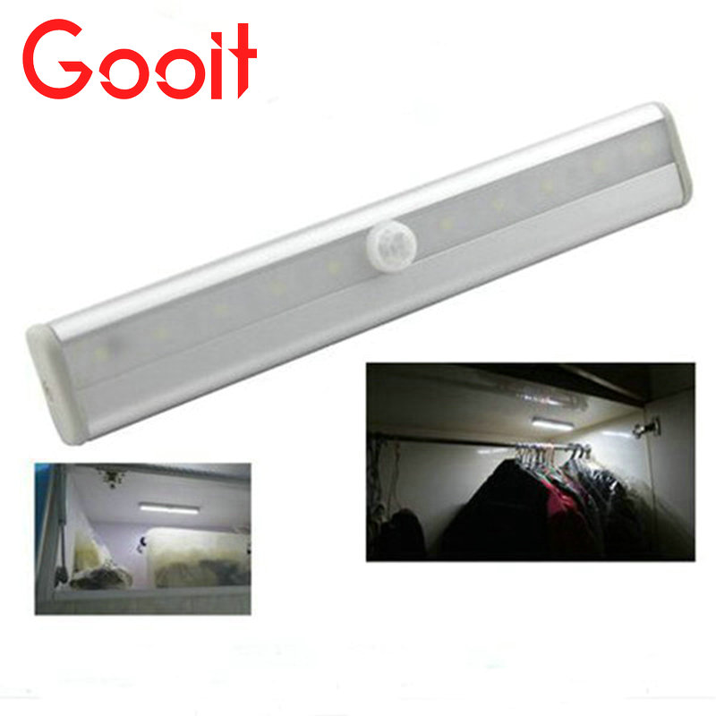 LED PIR Motion Sensor lamps Closet Wardrobe Cupboard Cabinet Night Light with battery