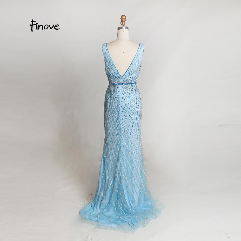311a85701d Finove Heavy Beading Evening Dresses Long 2019 New Styles Sexy Big V-Neck  Backless Crystals Floor ...
